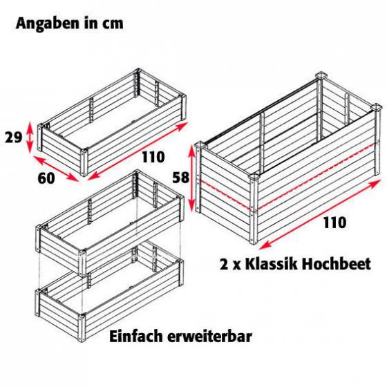 Hochbeet Klassik 3er-Set, rechteckig, stapelbar | #5