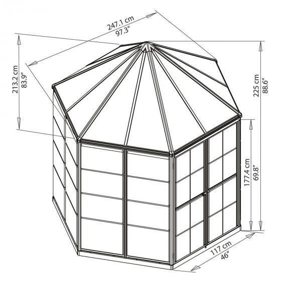 Gewächshaus Oasis Hexagonal, 247 x 247 x 225 cm, Alumium, anthrazit | #6