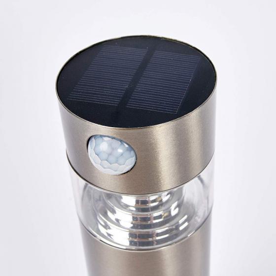 Solar-LED-Sockelleuchte Kalypso mit Bewegungsmelder, 30x7,6x7,6 cm, Edelstahl, silber | #6