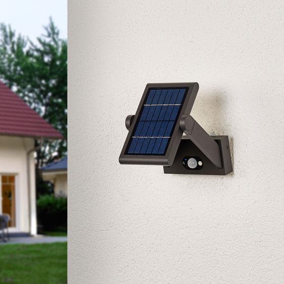 Solar-LED-Außenwandleuchte Valerian mit Bewegungsmelder, 16x23,3x15,2 cm, Aluminium, grau | #6