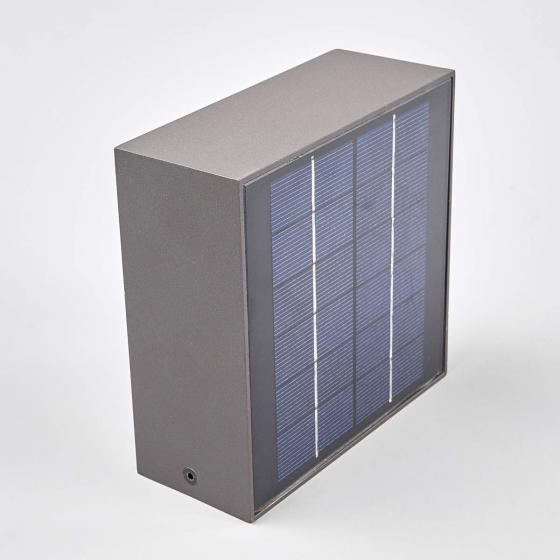 Solar-Led-Außenwandleuchte Mahra mit Bewegungsmelder, 6x14,5x14,5 cm, Aluminium, grau | #6