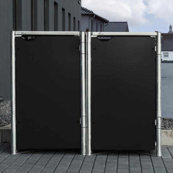 Mülltonnenbox 240l Kunststoff, 2er Box, schwarz | #6