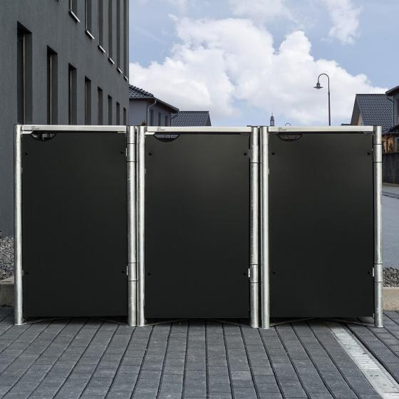 Mülltonnenbox 240l Kunststoff, 3er Box, schwarz | #6