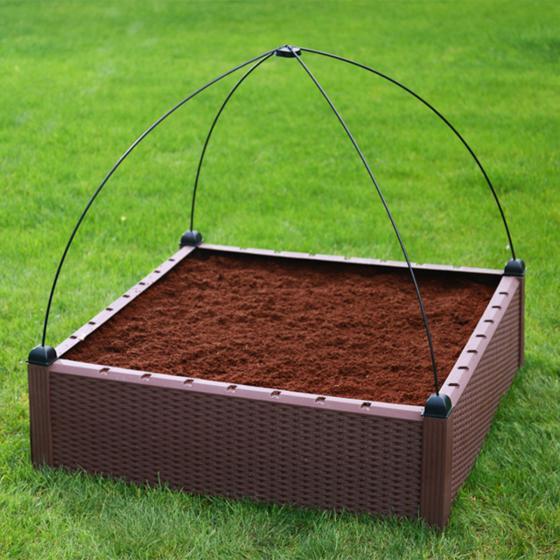 Gartenhochbeet, Kunststoff, braun, 99,5x99,5x30 cm | #6