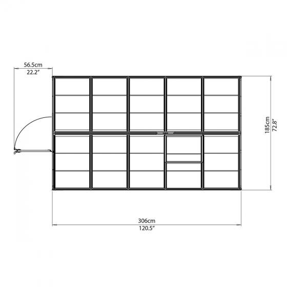 Palram Gewächshaus Green Line 6 x 10 inkl. Stahlfundament, 305 x 185 x 209 cm, Aluminium, grün | #6