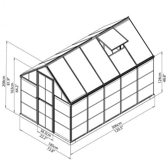 Gewächshaus Inter Line 6 x 10 inkl. Stahlfundament, 305 x 185 x 209 cm, Aluminium, silber | #6