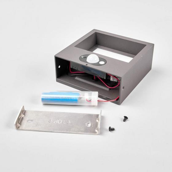 Solar-Led-Außenwandleuchte Mahra mit Bewegungsmelder, 6x14,5x14,5 cm, Aluminium, grau | #7