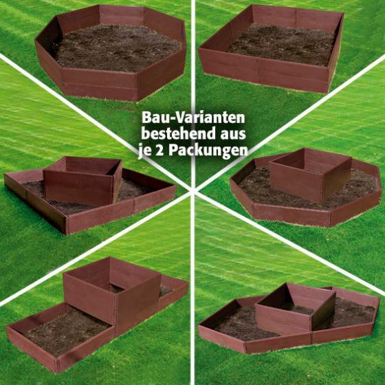 Hochbeet Flexi 3er-Set, 24 Module, 57,5x13x2 cm, Kunststoff, braun | #7