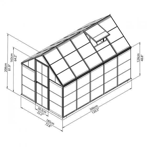 Gewächshaus Silver Line 6 x 10 inkl Stahlfundament, 306 x 185 x 208 cm, Aluminium, silber | #7