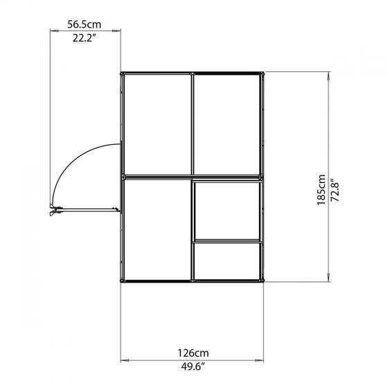 Gewächshaus Multi Line 6 x 4 inkl. Stahlfundament, 125 x 185 x 209 cm, Aluminium, silber | #7
