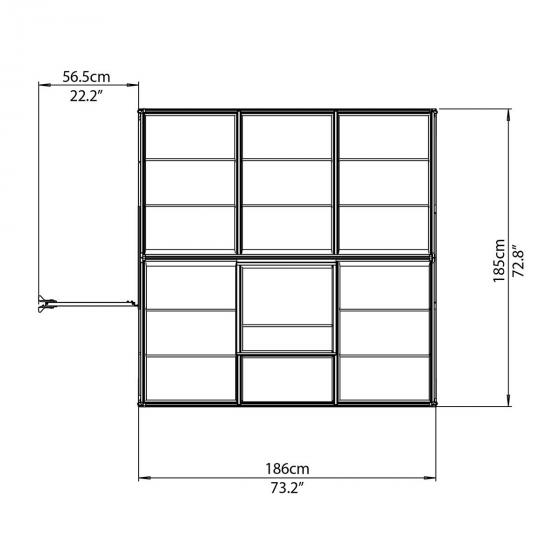 Palram Gewächshaus Multi Line 6 x 6 inkl. Stahlfundament, 185 x 185 x 209 cm, Aluminium, silber | #7
