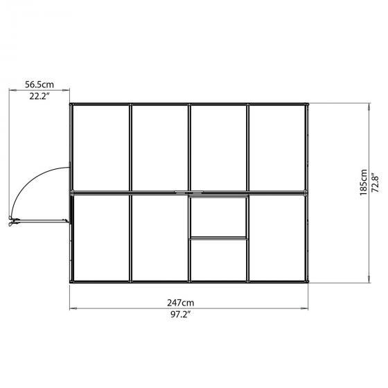 Palram Gewächshaus Multi Line 6 x 8 inkl. Stahlfundament, 246 x 185 x 209 cm, Aluminium, silber | #7