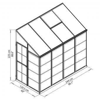 Anlehngewächshaus Interline 8x4' | #8