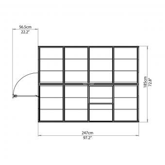 Gewächshaus Silver Line 6 x 8 inkl. Stahlfundament, 248 x 185 x 209 cm, Aluminium, silber | #8