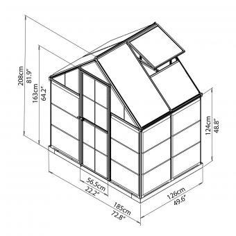 Palram Gewächshaus Inter Line 6 x 4 inkl. Stahlfundament, 125 x 185 x 209 cm, Aluminium, silber | #8
