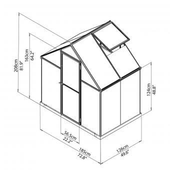 Gewächshaus Multi Line 6 x 4 inkl. Stahlfundament, 125 x 185 x 209 cm, Aluminium, silber | #8