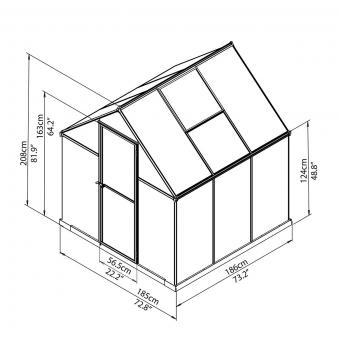 Palram Gewächshaus Multi Line 6 x 6 inkl. Stahlfundament, 185 x 185 x 209 cm, Aluminium, silber | #8