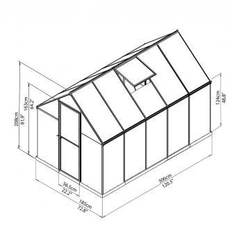 Palram Gewächshaus Multi Line 6 x 10 inkl. Stahlfundament, 305 x 185 x 209 cm, Aluminium, silber | #8