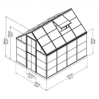 Gewächshaus Silver Line 6 x 8 inkl. Stahlfundament, 248 x 185 x 209 cm, Aluminium, silber | #9