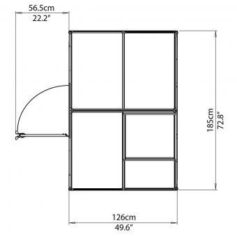 Palram Gewächshaus Inter Line 6 x 4 inkl. Stahlfundament, 125 x 185 x 209 cm, Aluminium, silber | #9