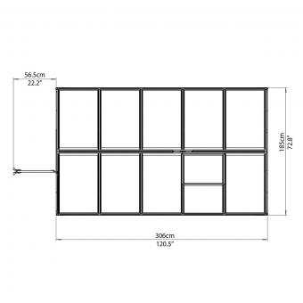 Palram Gewächshaus Multi Line 6 x 10 inkl. Stahlfundament, 305 x 185 x 209 cm, Aluminium, silber | #9
