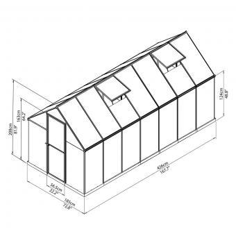 Gewächshaus Multi Line 6 x 14 inkl. Stahlfundament, 424 x 185 x 209 cm, Aluminium, silber | #9