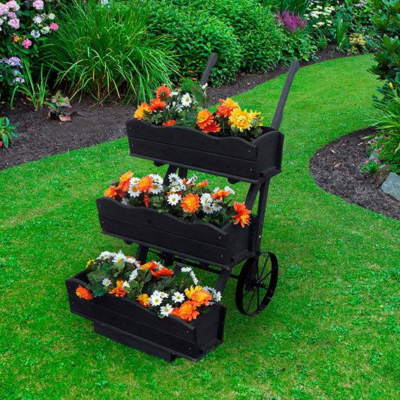 Blumenkarre inkl. 3er-Set Blumenkästen