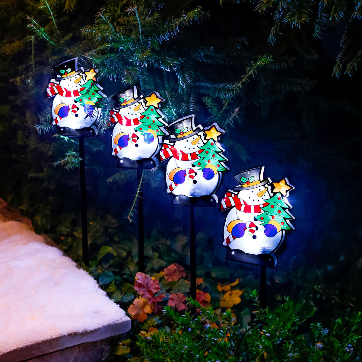 LED-Gartenstecker Schneemann-Quartett