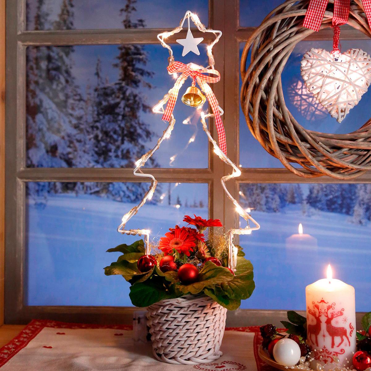 LED-Pflanzgefäß Landhaus-Weihnacht