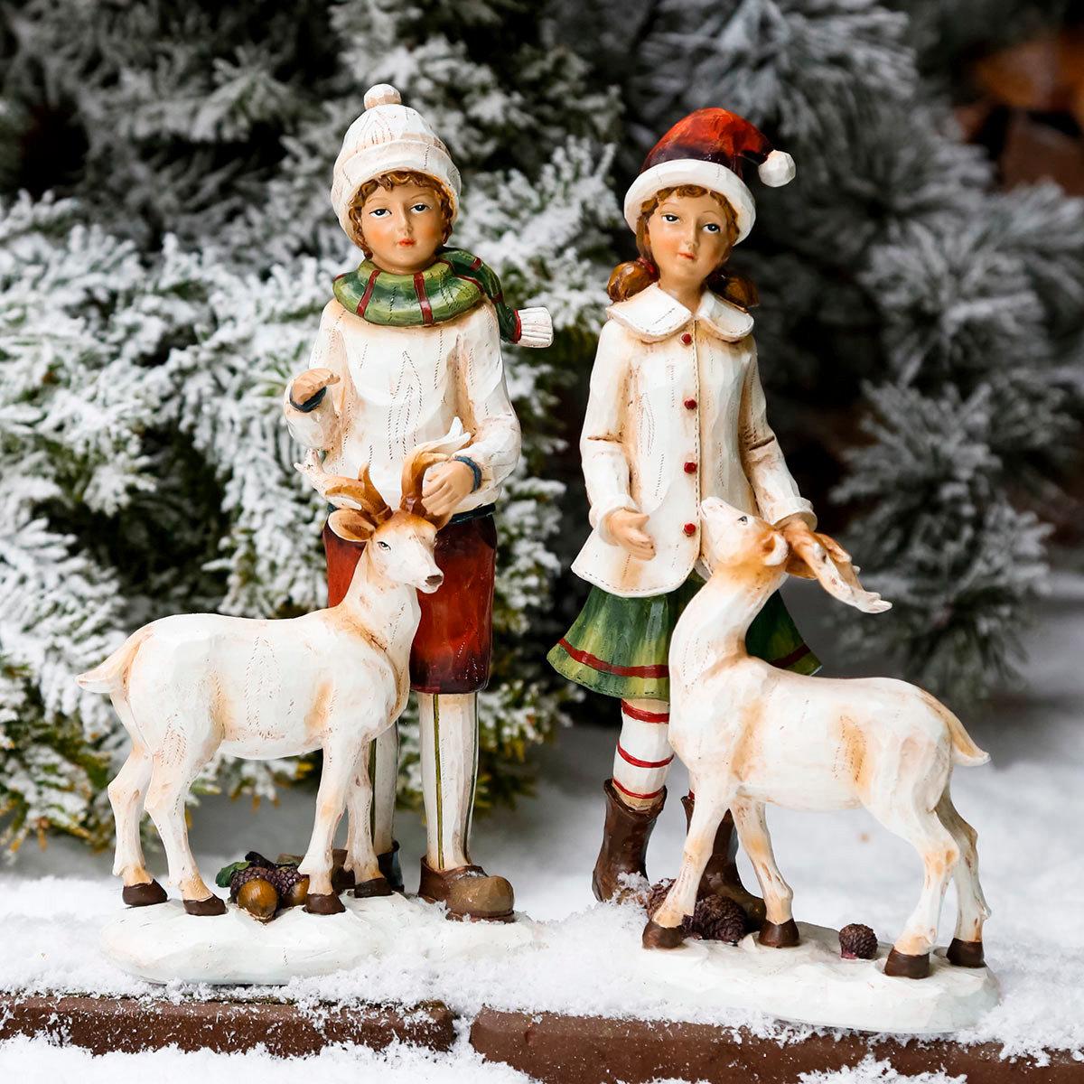 Winterkinder Marie & Jan mit Rentieren, 2er-Set