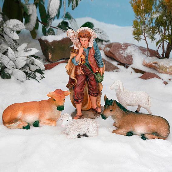 Außen-Krippenfiguren, Set Hirte mit Tieren