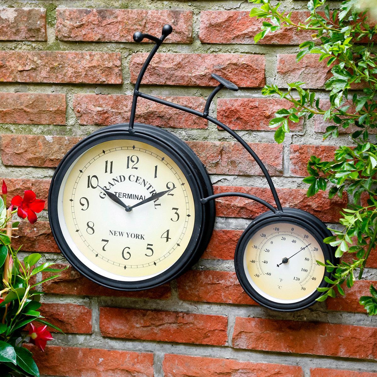 Wanduhr thermometer fahrrad von g rtner p tschke for Stilvolle gartendeko
