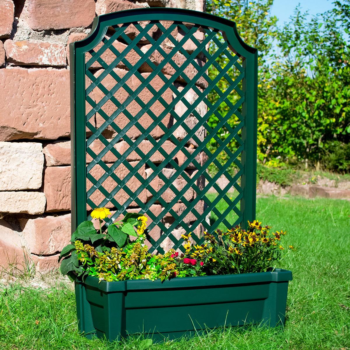 Pflanzkasten mit Bewässerungssystem und Spalier, grün