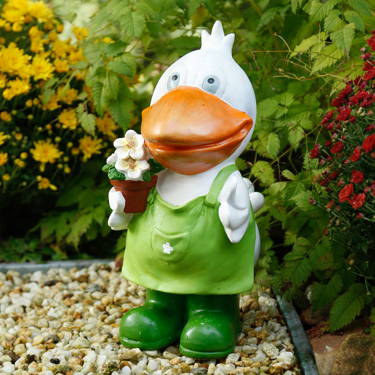 Deko-Ente Pauline mit Blumentopf