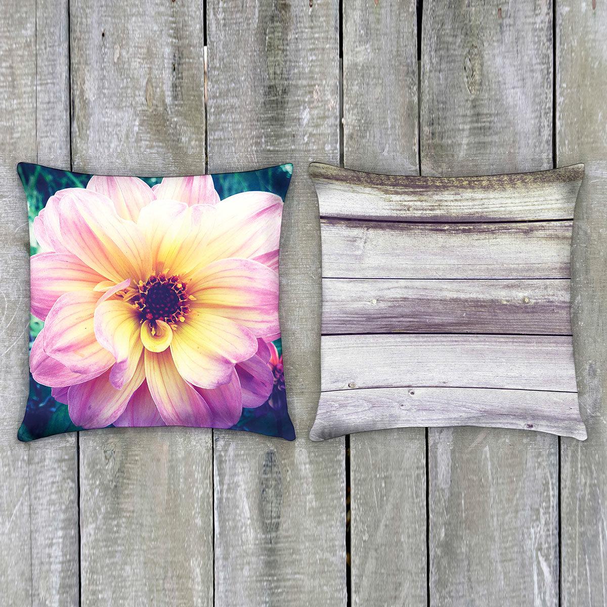 Outdoor-Kissen Holz & Blume