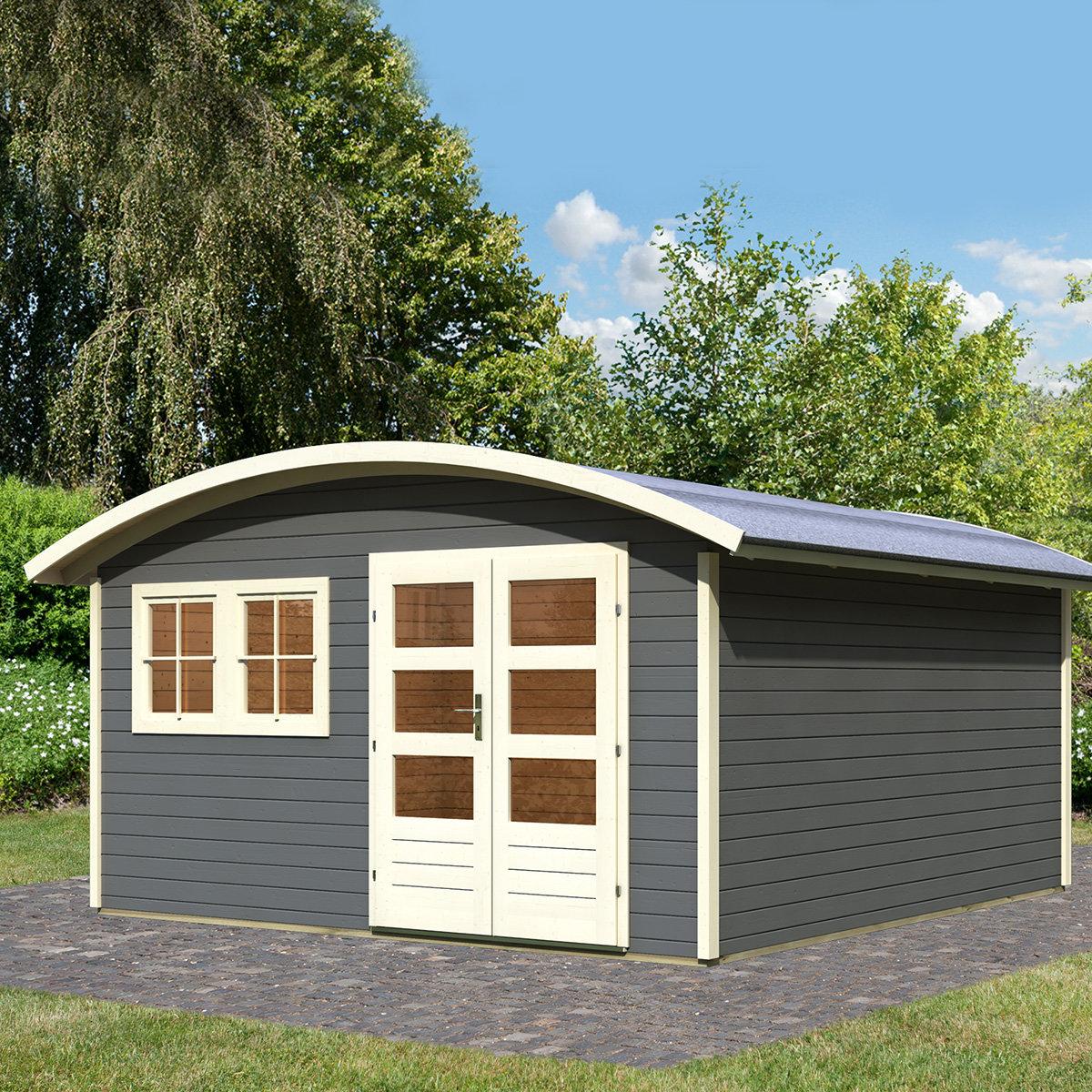 KARIBU Gartenhaus Friedland 3, grau, 28 mm