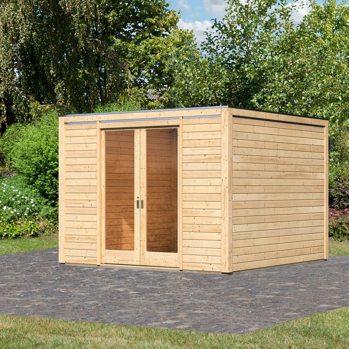 KARIBU Gartenhaus Cubus Front, naturfarben, 28 mm