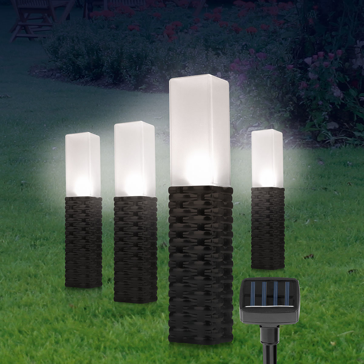 solar rattan leuchten obelisk 4er set schwarz von g rtner p tschke. Black Bedroom Furniture Sets. Home Design Ideas