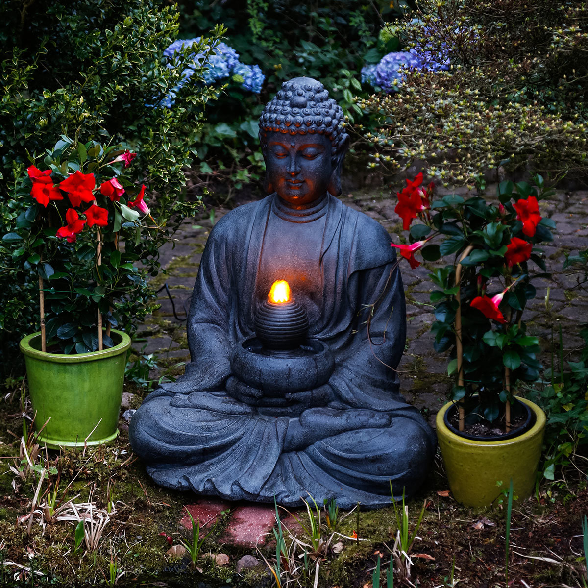 buddha brunnen prajna mit led beleuchtung von g rtner. Black Bedroom Furniture Sets. Home Design Ideas