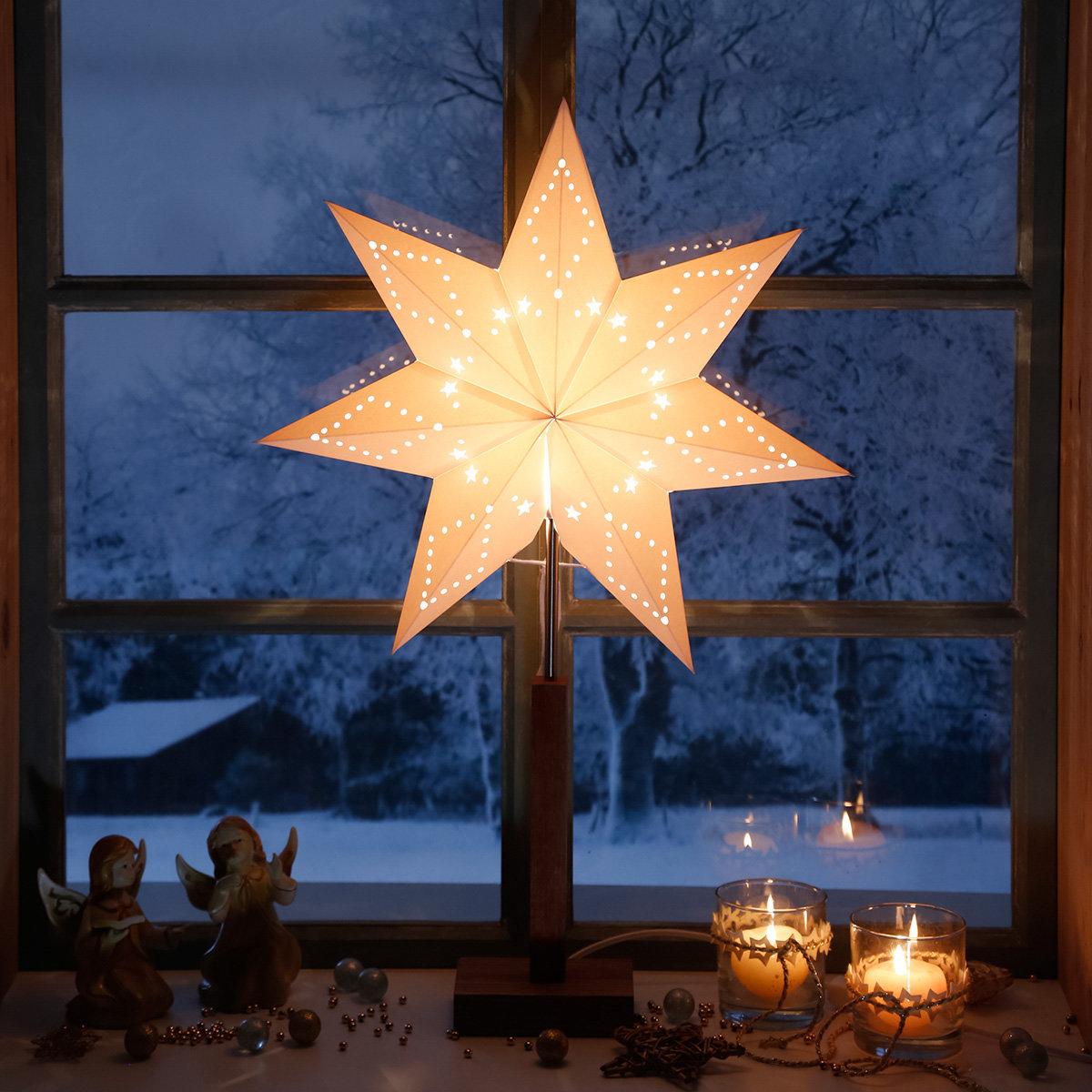 Standleuchte Winter Starlight, 70x43x15 cm, Holz und Papier, beige