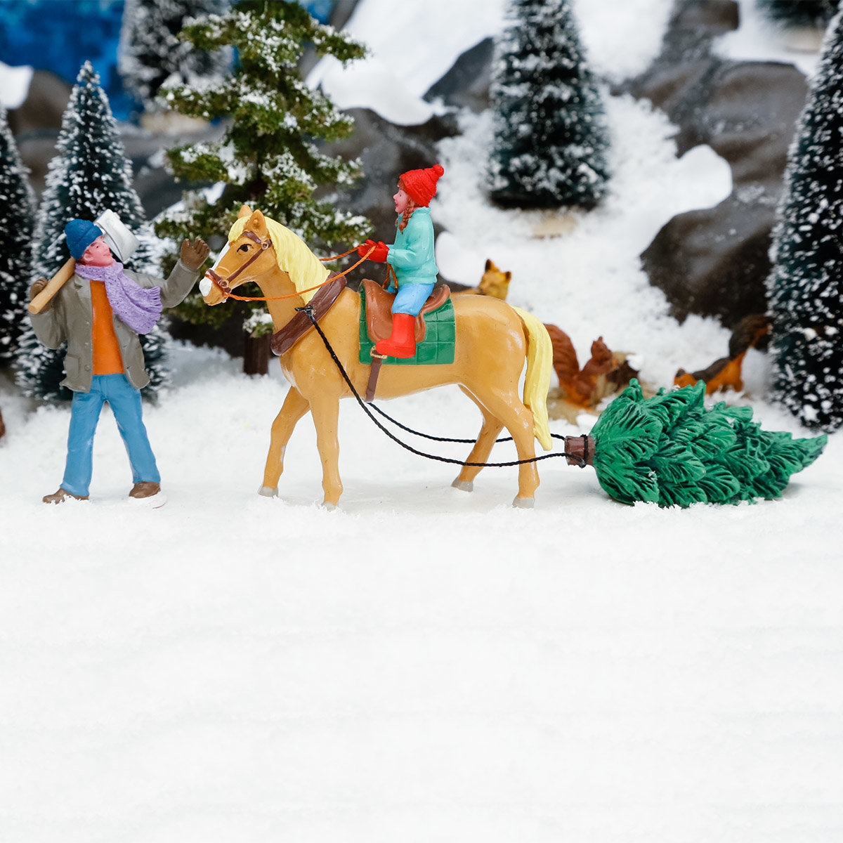 Miniatur-Winterfiguren Vater & Tochter, 2er-Set