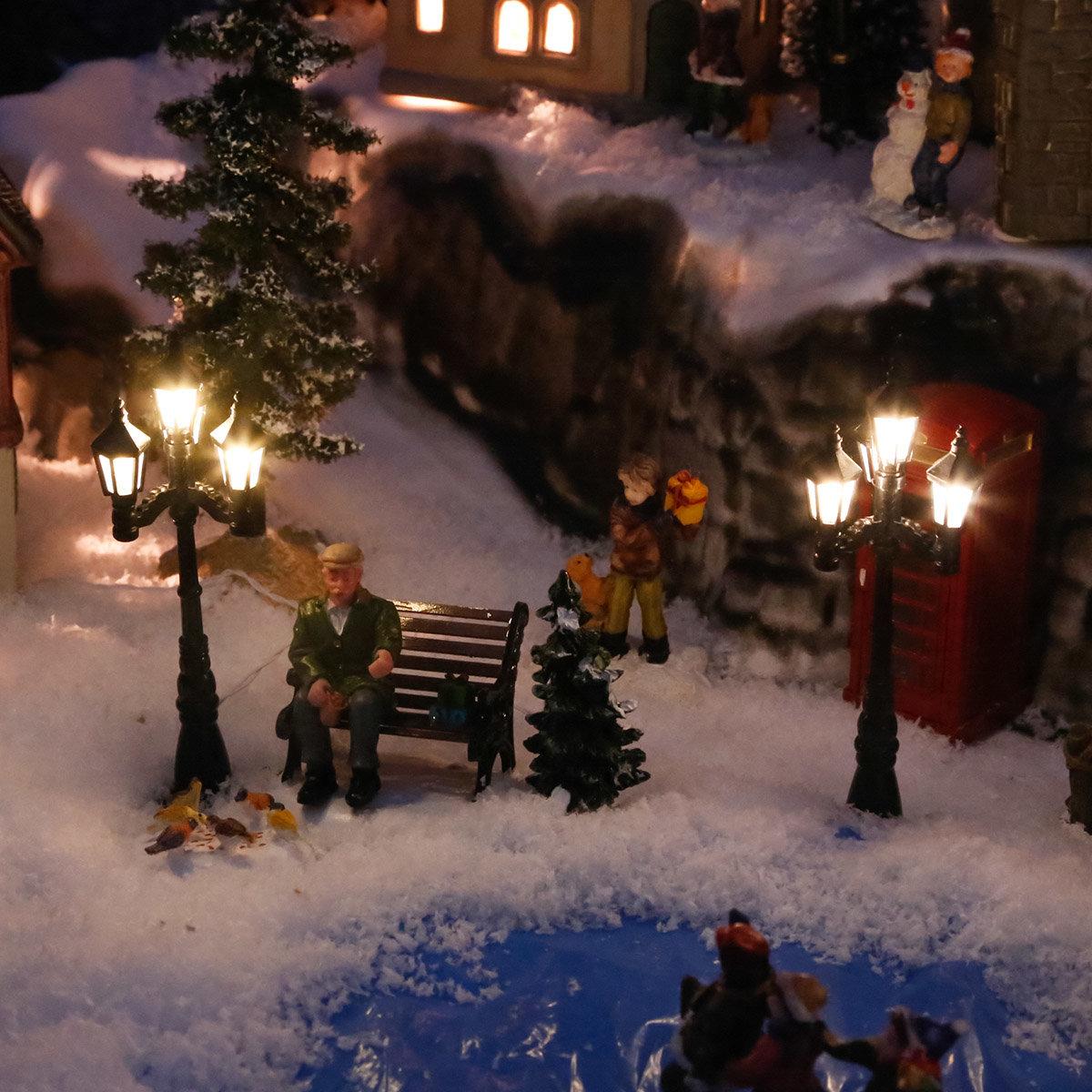 Miniatur-Weihnachtsdorf-LED-Straßenlaternen Konstanz, 2er-Set
