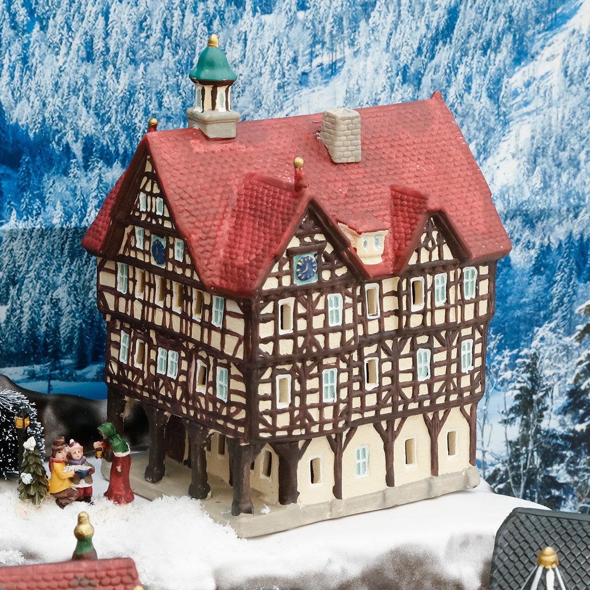 Miniatur-Weihnachtsdorf-Lichthaus Rathaus in Bad Urach