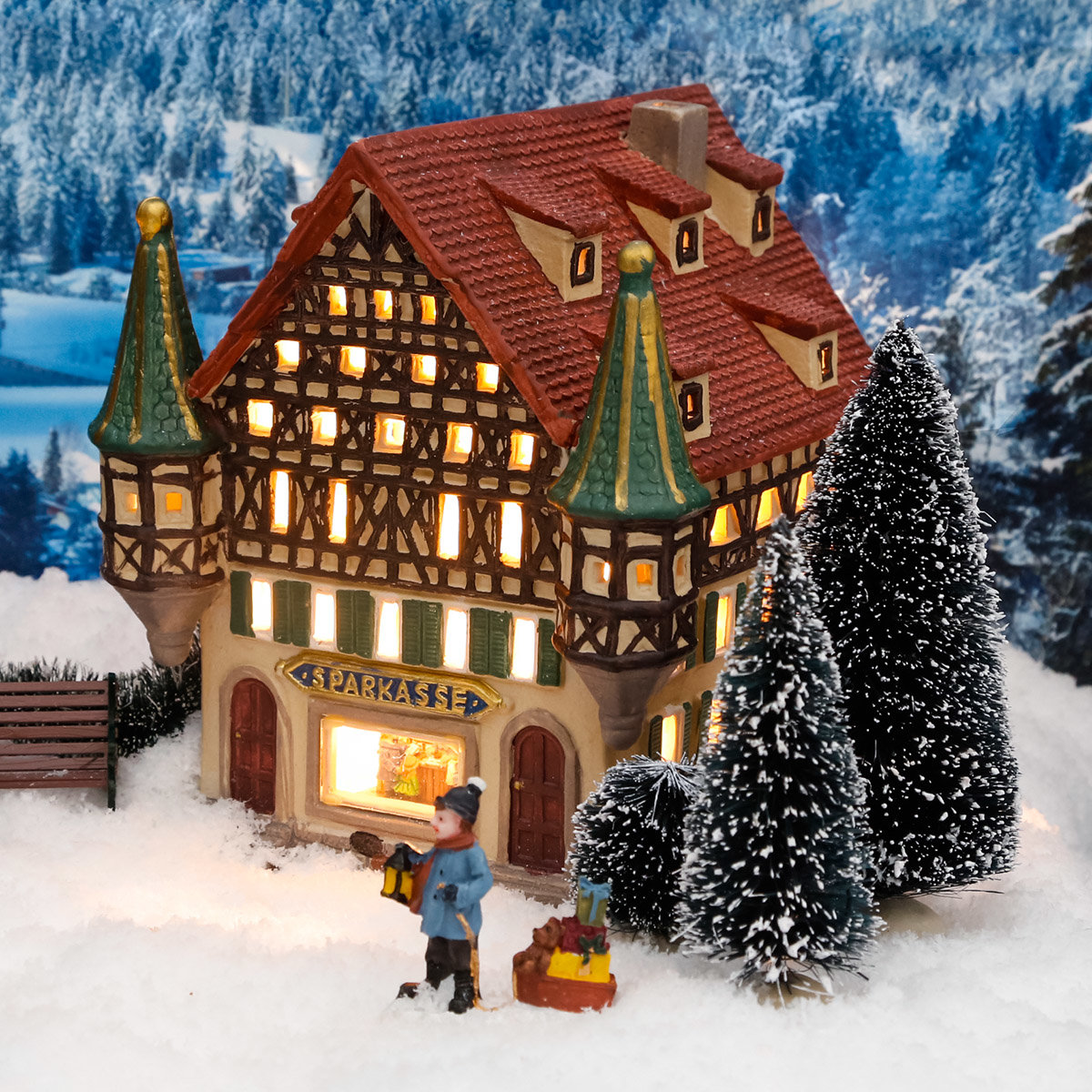 miniatur weihnachtsdorf lichthaus sparkasse von g rtner. Black Bedroom Furniture Sets. Home Design Ideas