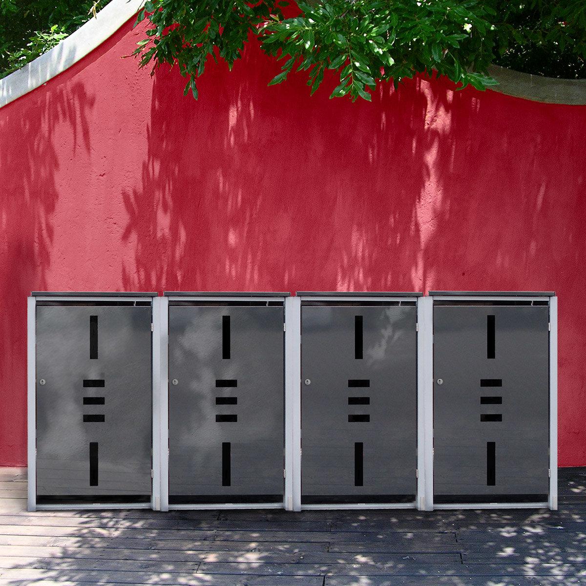 Mülltonnenbox, 4er mit Klappdeckel