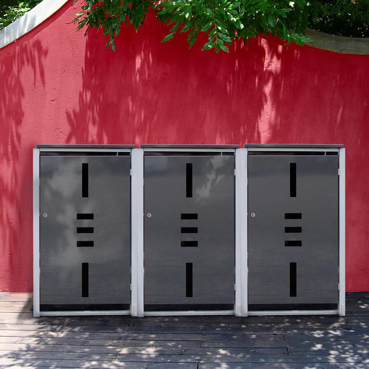 Mülltonnenbox, 3er mit Klappdeckel