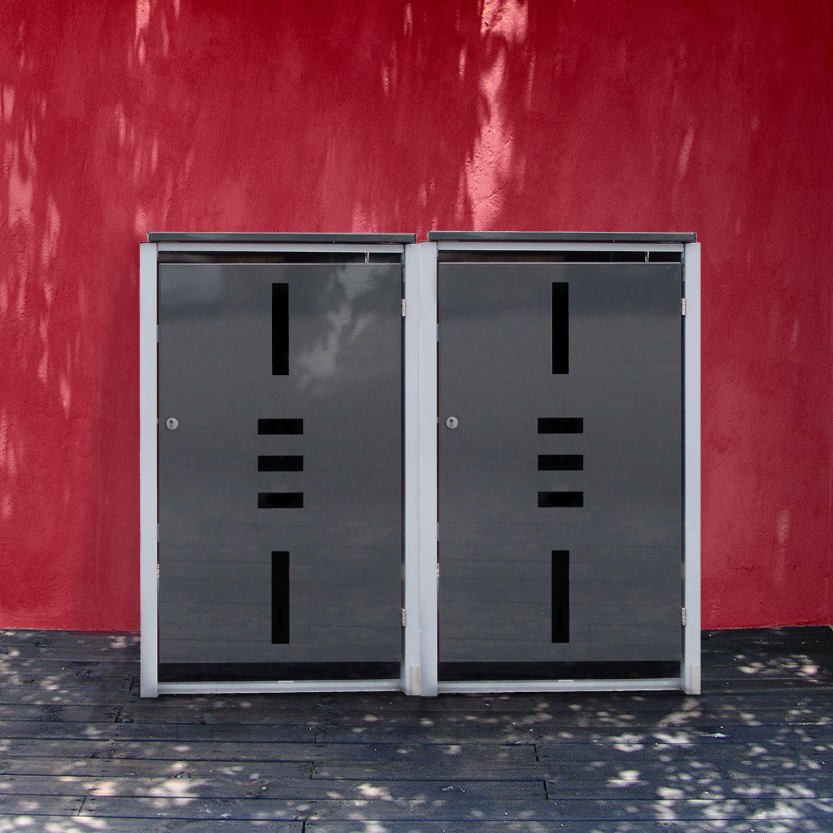 Mülltonnenbox, 2er mit Klappdeckel