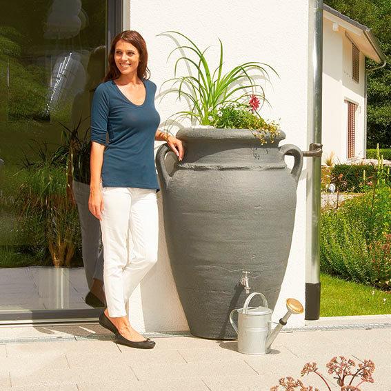 Regenwassertank Wand-Amphore 260 Liter, granit