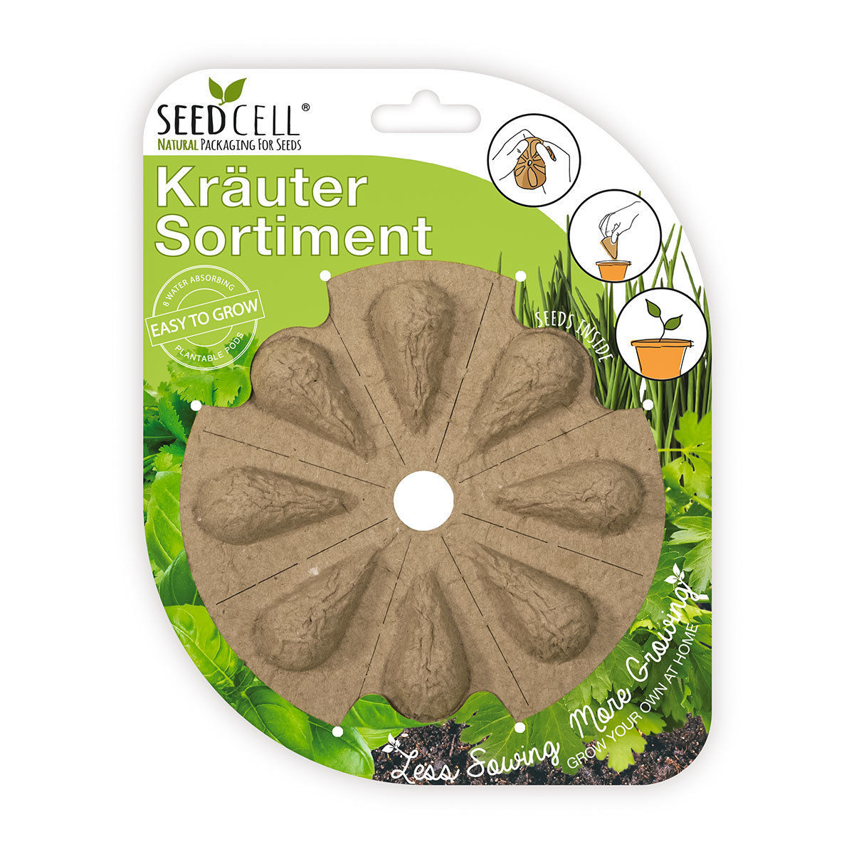 Seedcell Kräuter-Sortiment, 8 Seedcells
