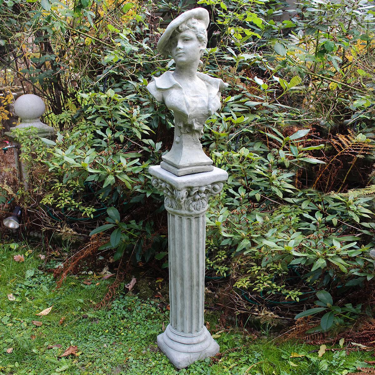 Steinguss b ste scarlett mit s ule online kaufen bei for Gartenfiguren aus steinguss